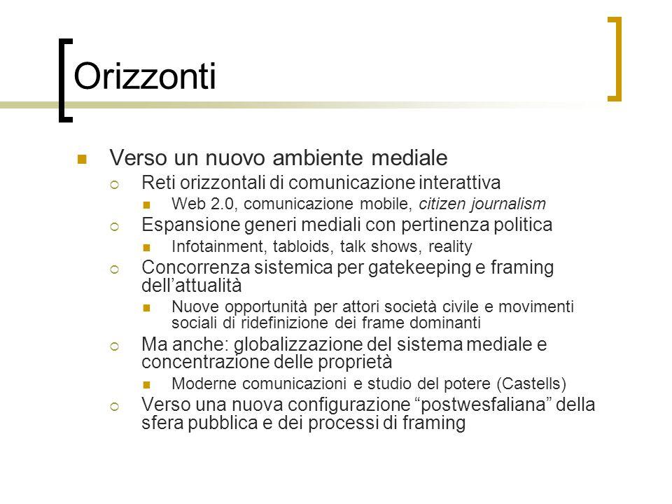 Orizzonti Verso un nuovo ambiente mediale  Reti orizzontali di comunicazione interattiva Web 2.0, comunicazione mobile, citizen journalism  Espansio