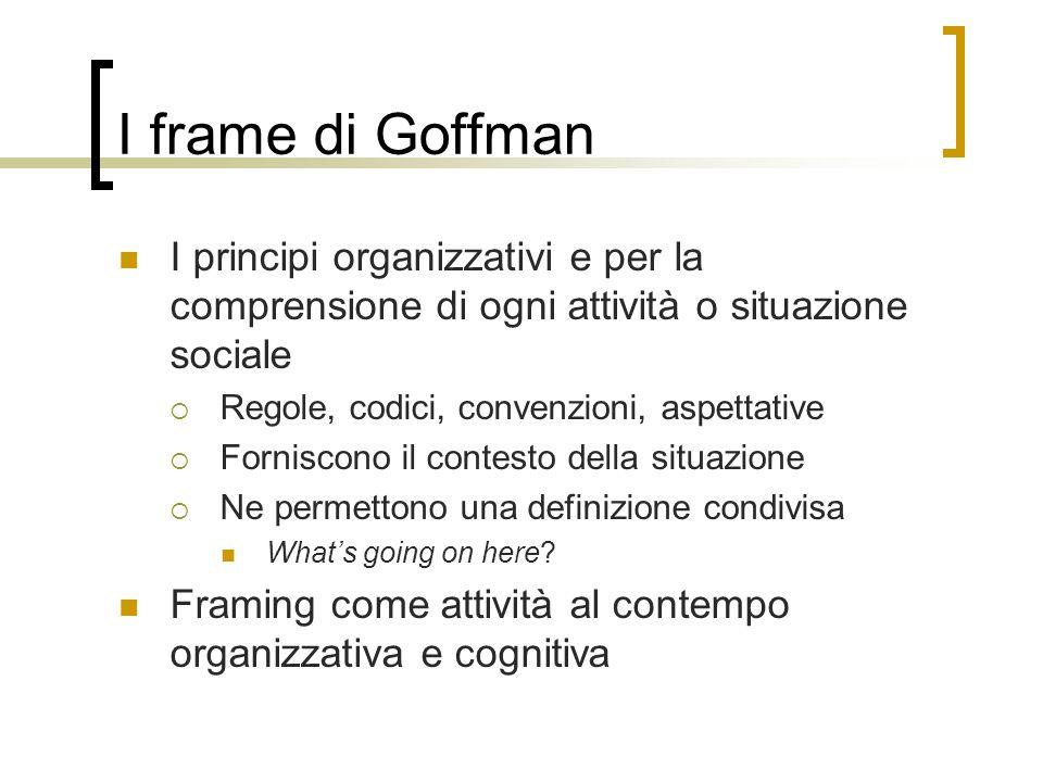 I frame di Goffman I principi organizzativi e per la comprensione di ogni attività o situazione sociale  Regole, codici, convenzioni, aspettative  F