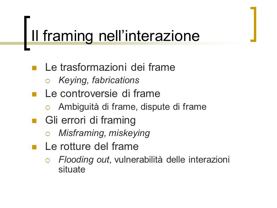 Il framing nell'interazione Le trasformazioni dei frame  Keying, fabrications Le controversie di frame  Ambiguità di frame, dispute di frame Gli err