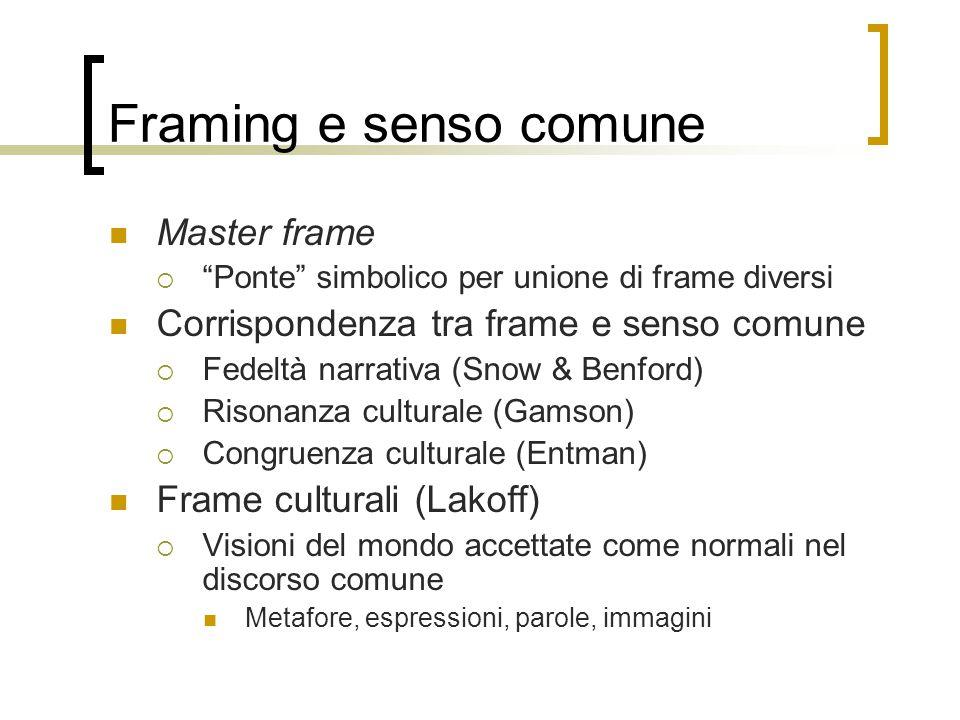 """Framing e senso comune Master frame  """"Ponte"""" simbolico per unione di frame diversi Corrispondenza tra frame e senso comune  Fedeltà narrativa (Snow"""