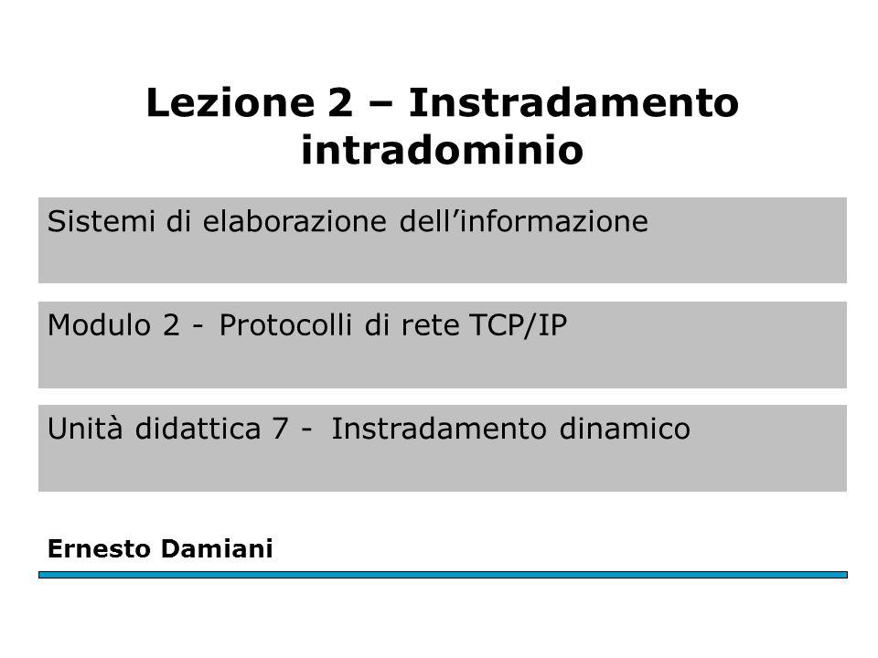 Sistemi di elaborazione dell'informazione Modulo 2 -Protocolli di rete TCP/IP Unità didattica 7 -Instradamento dinamico Ernesto Damiani Lezione 2 – Instradamento intradominio