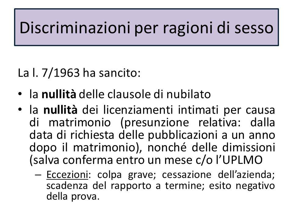 La l. 7/1963 ha sancito: la nullità delle clausole di nubilato la nullità dei licenziamenti intimati per causa di matrimonio (presunzione relativa: da