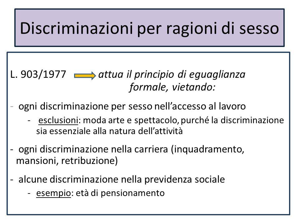 Discriminazioni per ragioni di sesso L. 903/1977 attua il principio di eguaglianza formale, vietando: - ogni discriminazione per sesso nell'accesso al