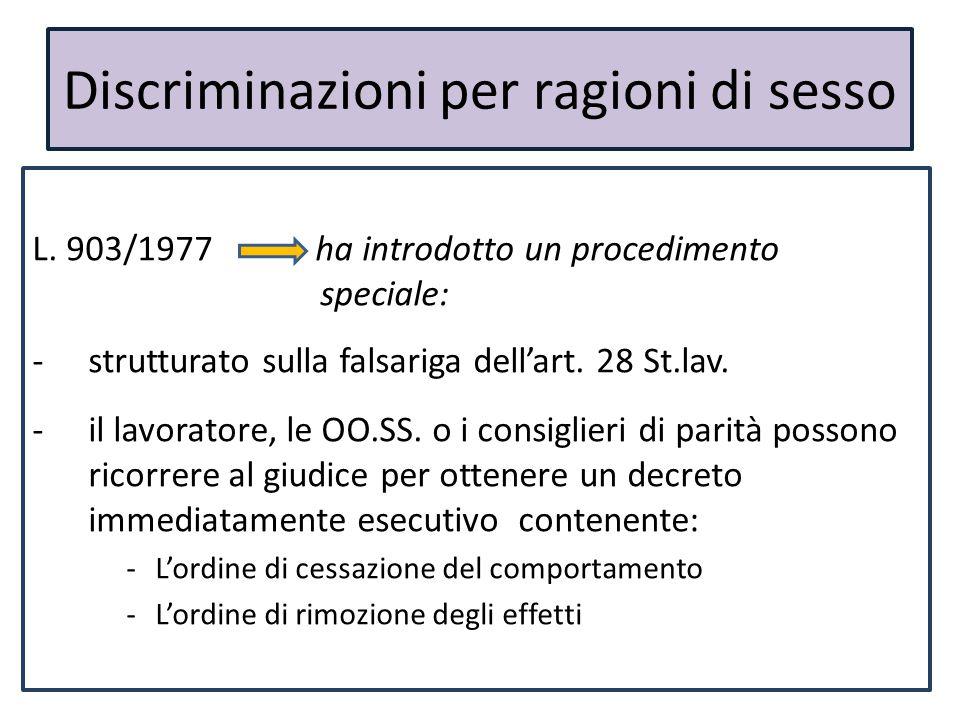 Discriminazioni per ragioni di sesso L. 903/1977 ha introdotto un procedimento speciale: -strutturato sulla falsariga dell'art. 28 St.lav. -il lavorat