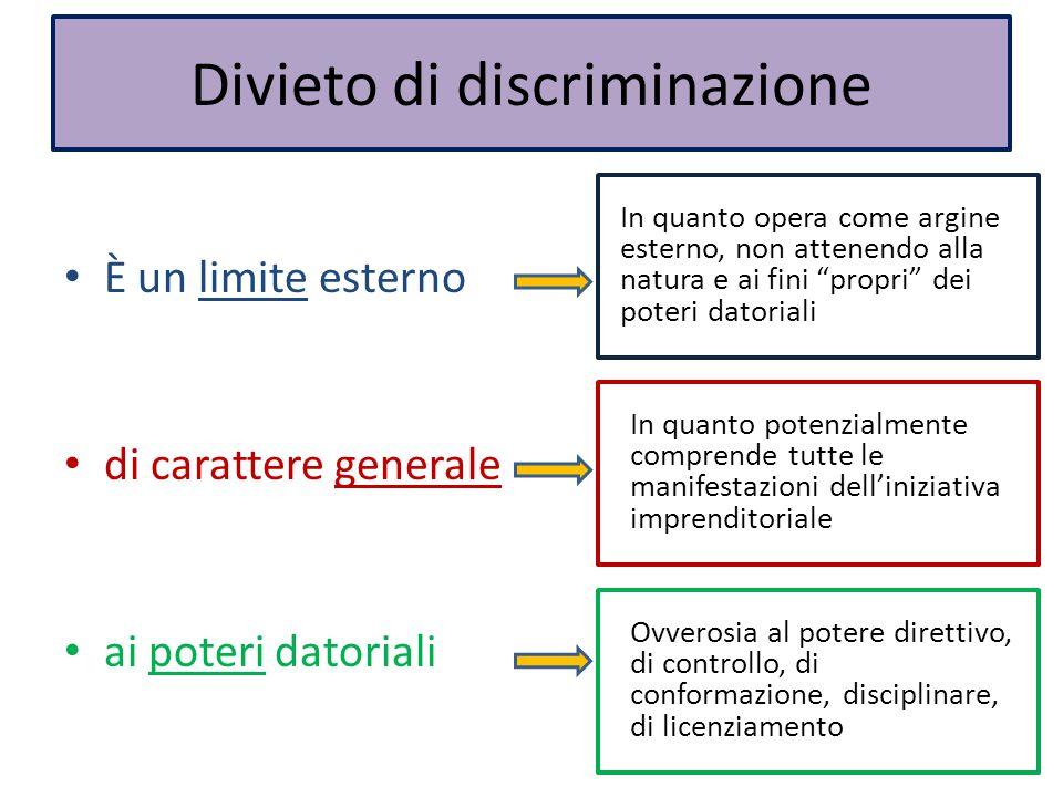 Divieto di discriminazione È un limite esterno di carattere generale ai poteri datoriali In quanto potenzialmente comprende tutte le manifestazioni de