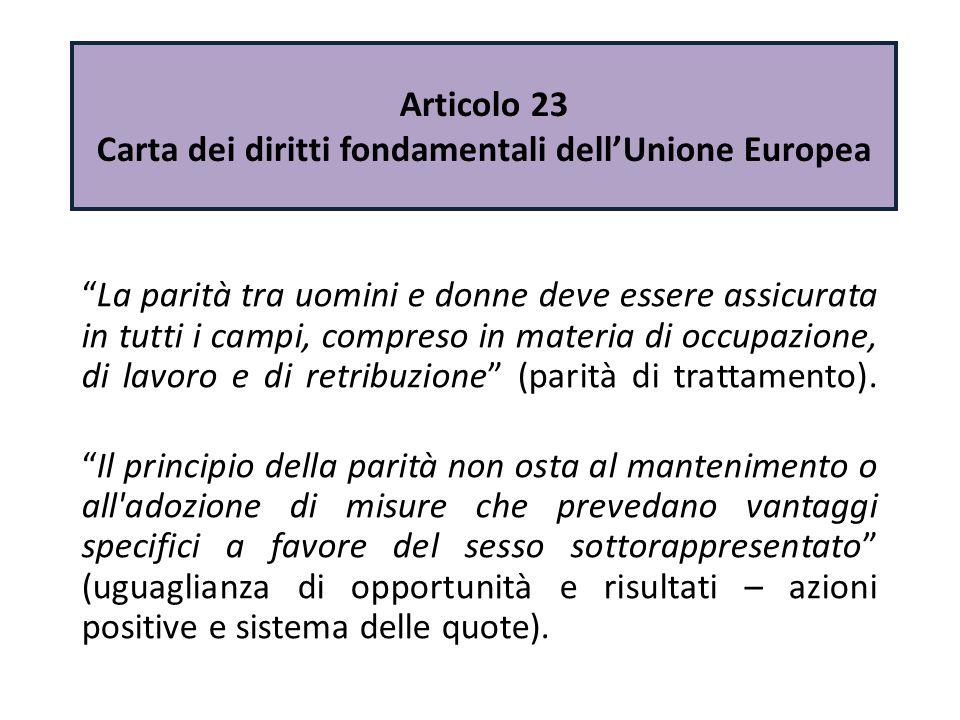 """Articolo 23 Carta dei diritti fondamentali dell'Unione Europea """"La parità tra uomini e donne deve essere assicurata in tutti i campi, compreso in mate"""