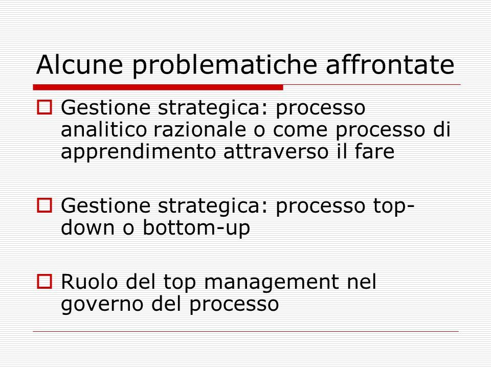 Alcune problematiche affrontate  Gestione strategica: processo analitico razionale o come processo di apprendimento attraverso il fare  Gestione strategica: processo top- down o bottom-up  Ruolo del top management nel governo del processo