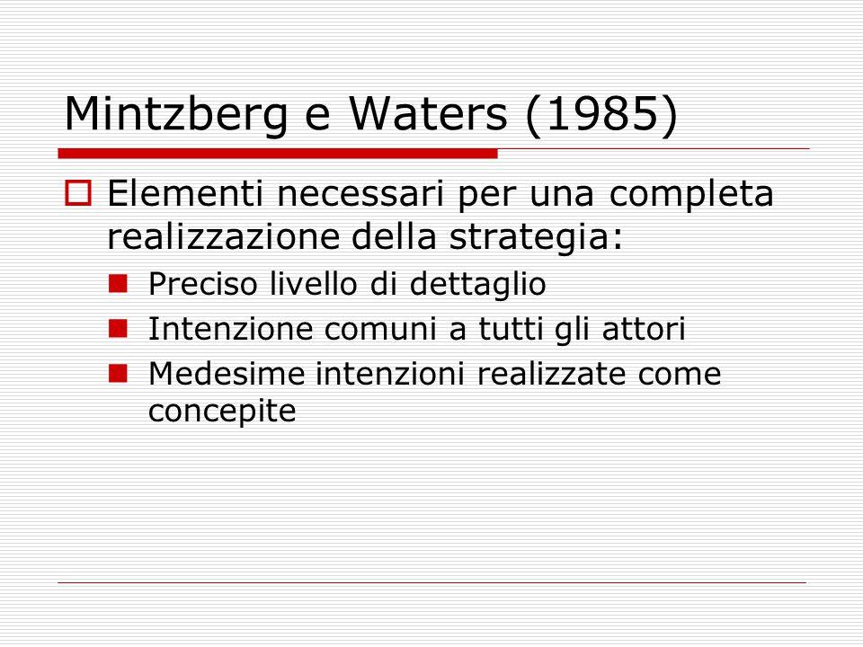 Mintzberg e Waters (1985)  Elementi necessari per una completa realizzazione della strategia: Preciso livello di dettaglio Intenzione comuni a tutti gli attori Medesime intenzioni realizzate come concepite