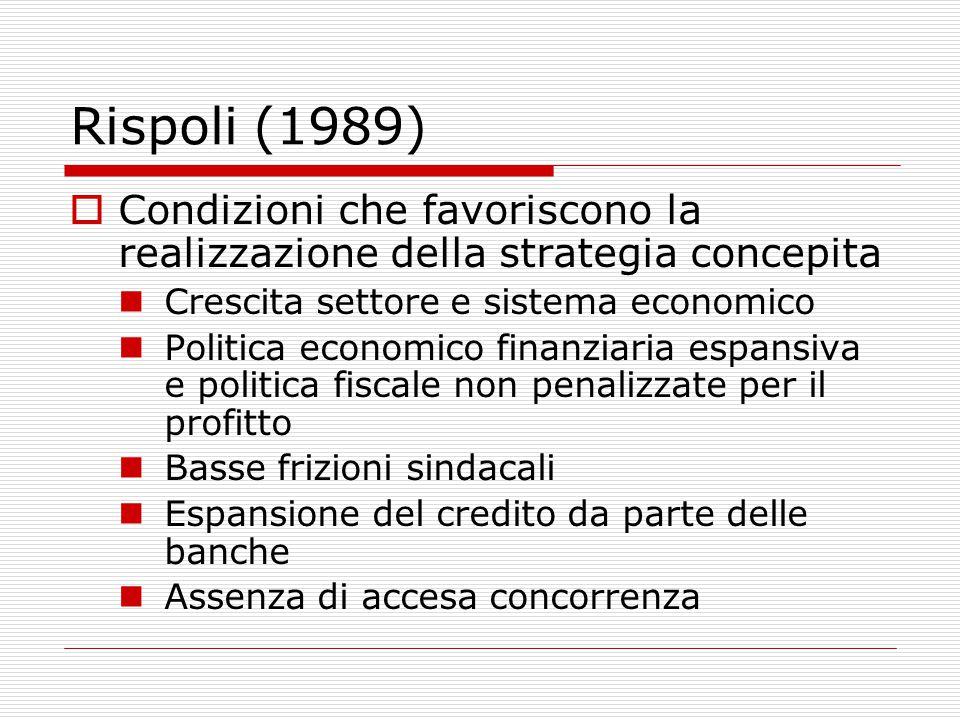 Rispoli (1989)  Condizioni che favoriscono la realizzazione della strategia concepita Crescita settore e sistema economico Politica economico finanziaria espansiva e politica fiscale non penalizzate per il profitto Basse frizioni sindacali Espansione del credito da parte delle banche Assenza di accesa concorrenza
