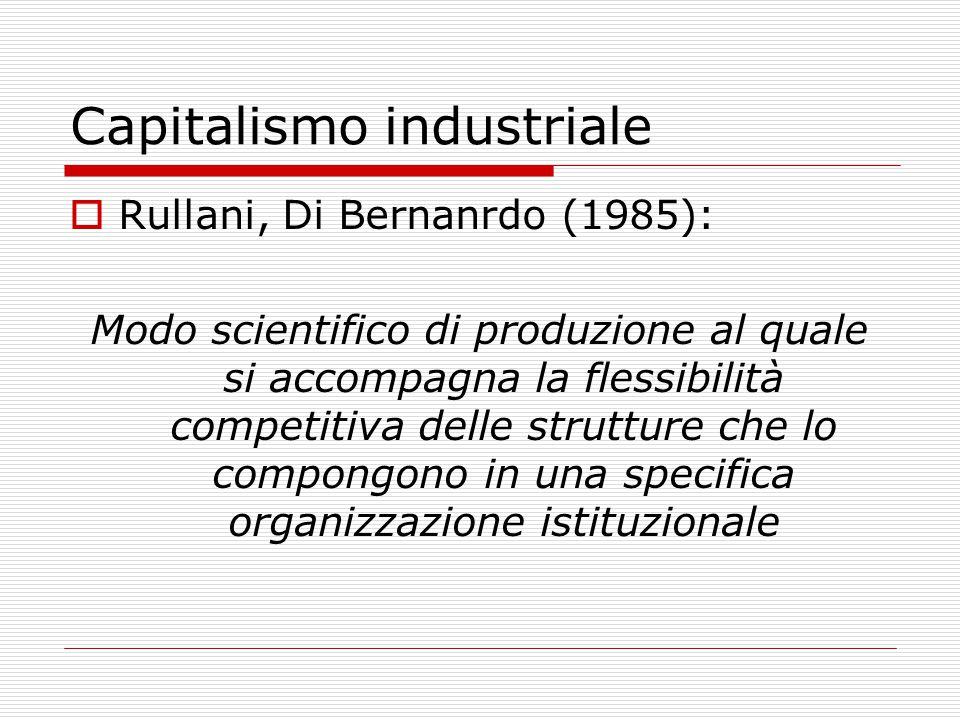 Capitalismo industriale  Rullani, Di Bernanrdo (1985): Modo scientifico di produzione al quale si accompagna la flessibilità competitiva delle strutture che lo compongono in una specifica organizzazione istituzionale