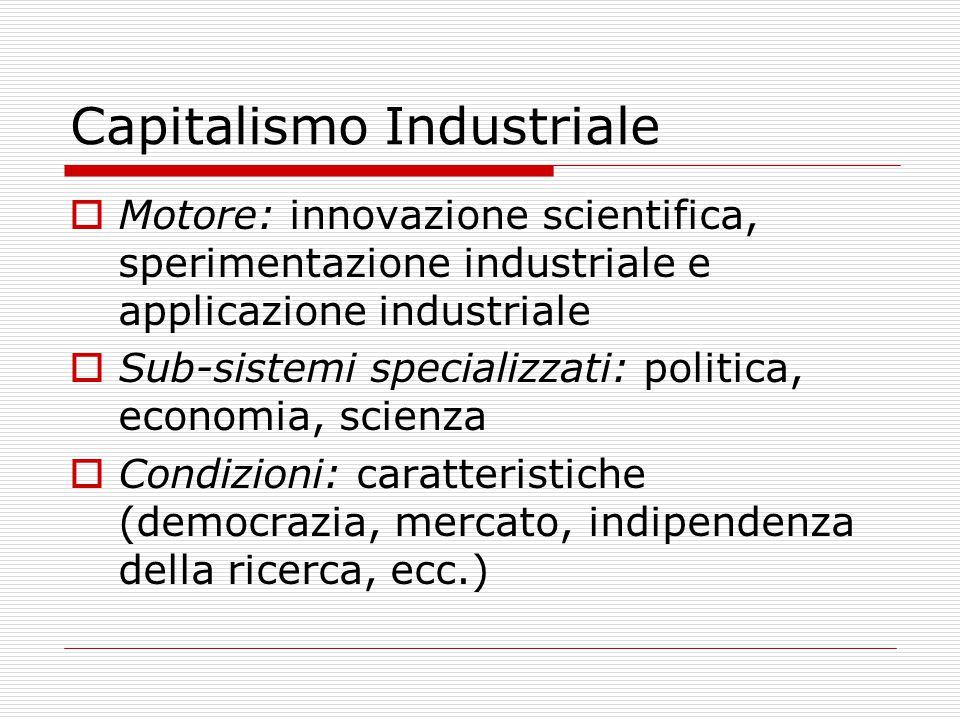 Capitalismo Industriale  Motore: innovazione scientifica, sperimentazione industriale e applicazione industriale  Sub-sistemi specializzati: politica, economia, scienza  Condizioni: caratteristiche (democrazia, mercato, indipendenza della ricerca, ecc.)