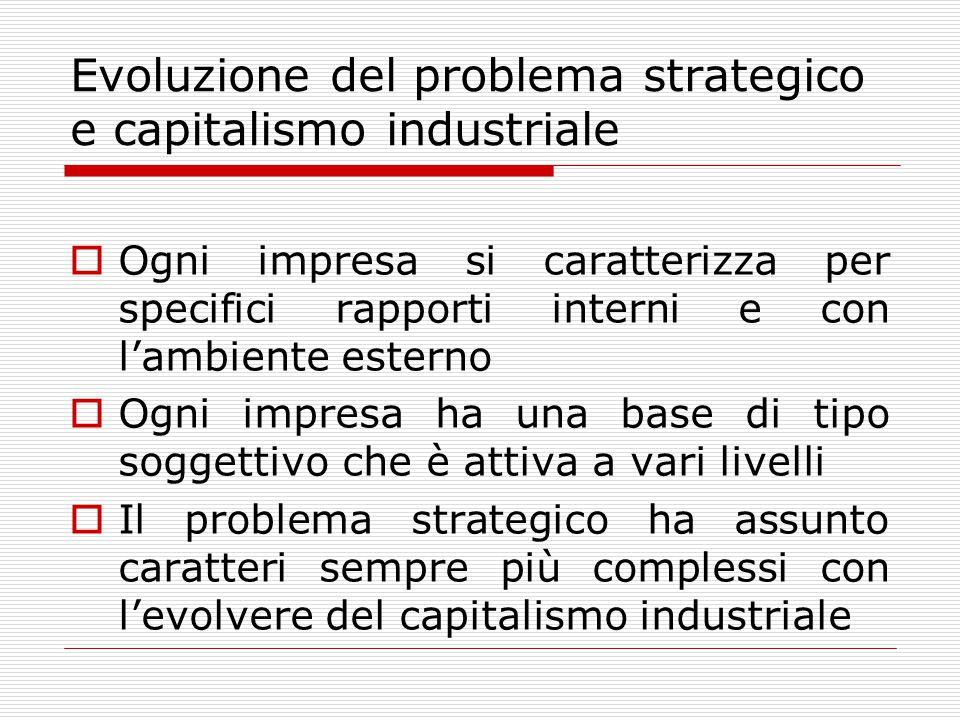 Evoluzione del problema strategico e capitalismo industriale  Ogni impresa si caratterizza per specifici rapporti interni e con l'ambiente esterno  Ogni impresa ha una base di tipo soggettivo che è attiva a vari livelli  Il problema strategico ha assunto caratteri sempre più complessi con l'evolvere del capitalismo industriale