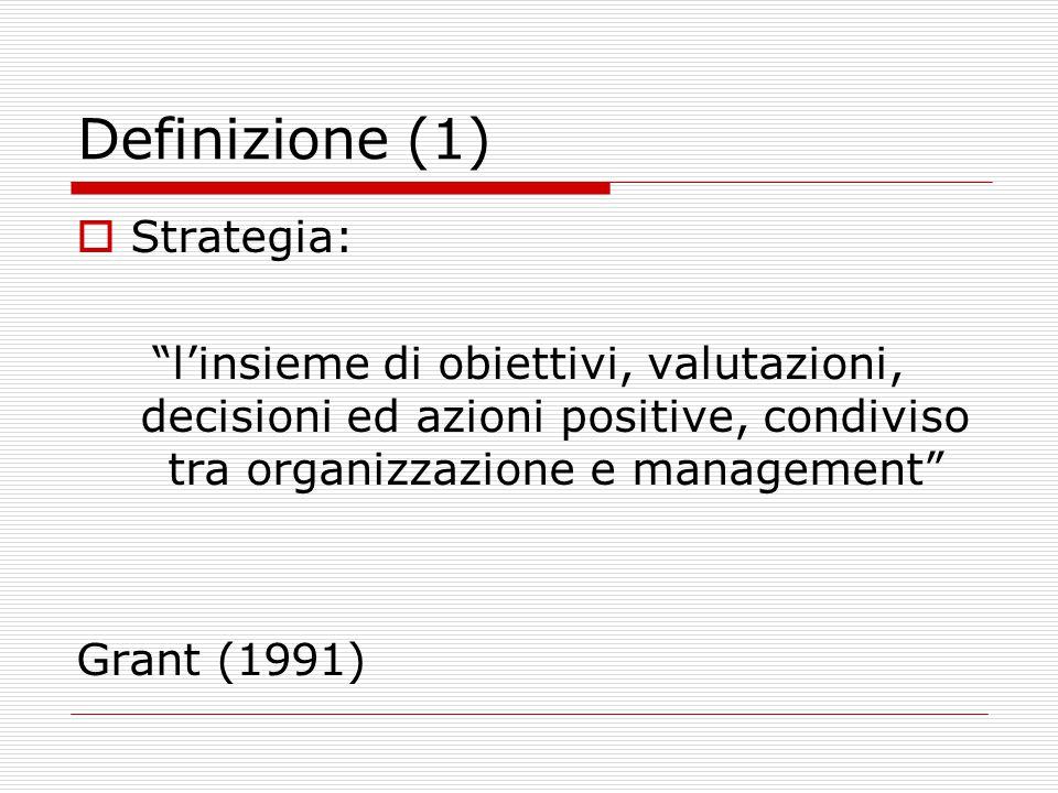 Definizione (1)  Strategia: l'insieme di obiettivi, valutazioni, decisioni ed azioni positive, condiviso tra organizzazione e management Grant (1991)