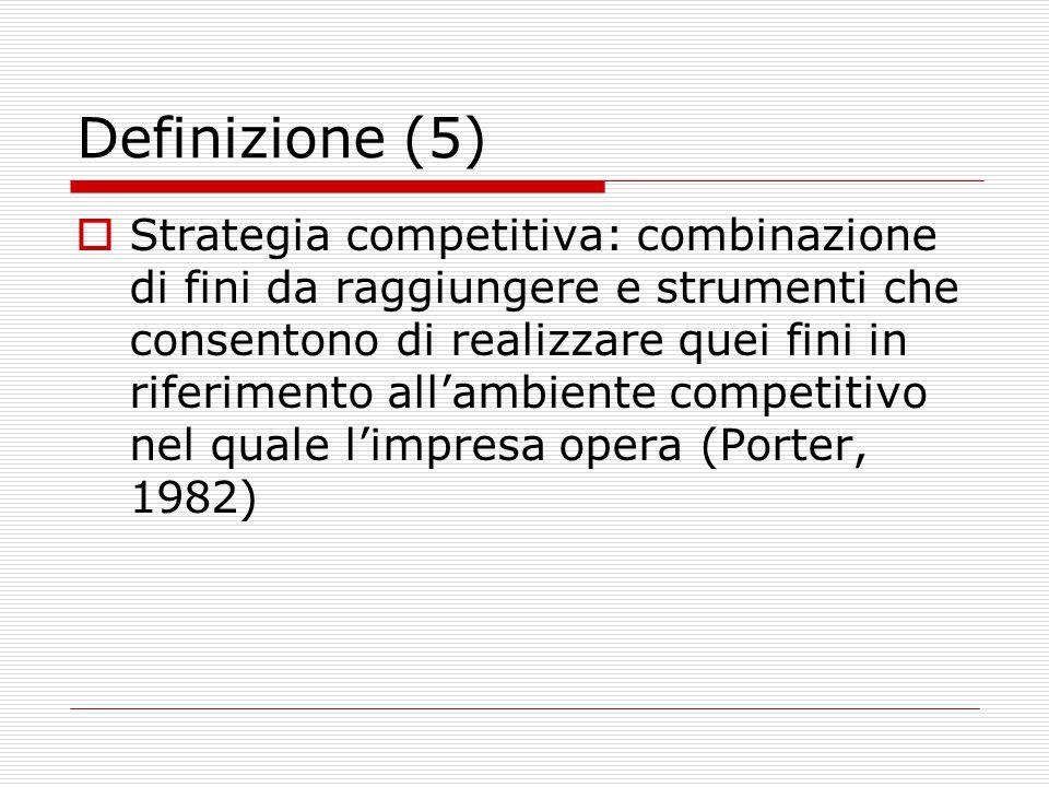 Definizione (5)  Strategia competitiva: combinazione di fini da raggiungere e strumenti che consentono di realizzare quei fini in riferimento all'ambiente competitivo nel quale l'impresa opera (Porter, 1982)