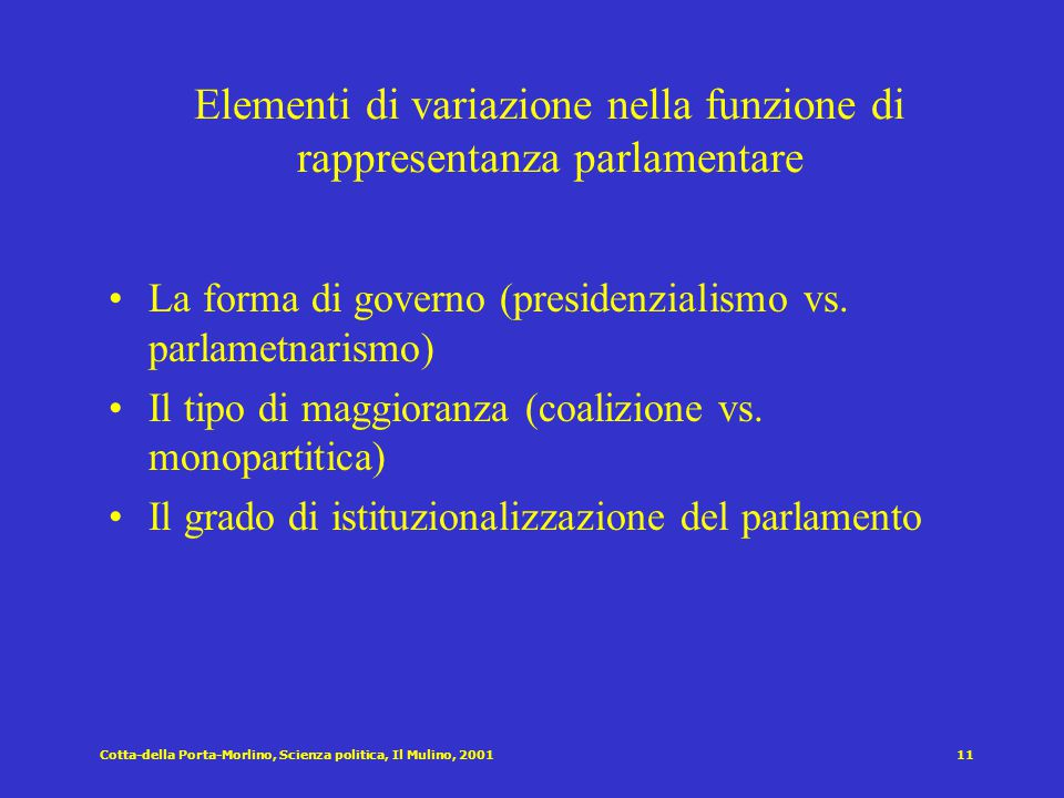 Cotta-della Porta-Morlino, Scienza politica, Il Mulino, 200110 Le funzioni del parlamento secondo Bagehot [1867] Elettiva  designazione dell'esecutiv