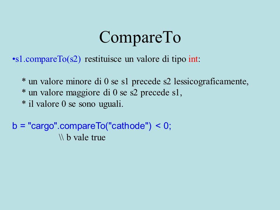 CompareTo s1.compareTo(s2) restituisce un valore di tipo int: * un valore minore di 0 se s1 precede s2 lessicograficamente, * un valore maggiore di 0