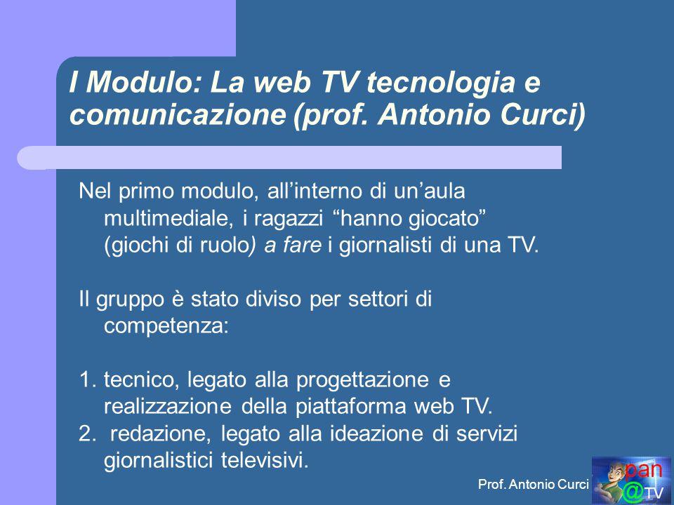 Prof.Antonio Curci I Modulo: La web TV tecnologia e comunicazione (prof.