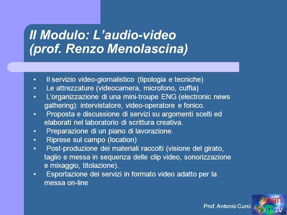Prof.Antonio Curci II Modulo: L'audio-video (prof.
