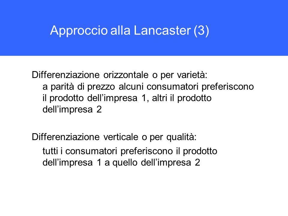 Approccio alla Lancaster (3) Differenziazione orizzontale o per varietà: a parità di prezzo alcuni consumatori preferiscono il prodotto dell'impresa 1, altri il prodotto dell'impresa 2 Differenziazione verticale o per qualità: tutti i consumatori preferiscono il prodotto dell'impresa 1 a quello dell'impresa 2