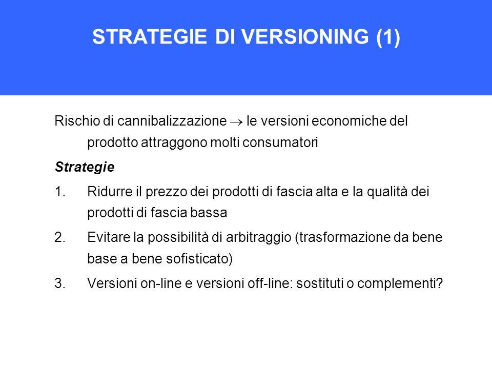 STRATEGIE DI VERSIONING (1) Rischio di cannibalizzazione  le versioni economiche del prodotto attraggono molti consumatori Strategie 1.Ridurre il pre