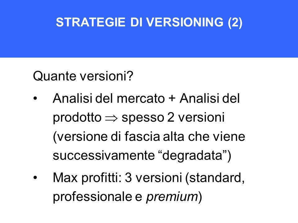 STRATEGIE DI VERSIONING (2) Quante versioni? Analisi del mercato + Analisi del prodotto  spesso 2 versioni (versione di fascia alta che viene success