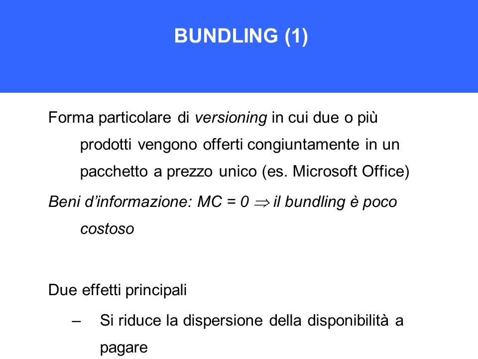 BUNDLING (1) Forma particolare di versioning in cui due o più prodotti vengono offerti congiuntamente in un pacchetto a prezzo unico (es.