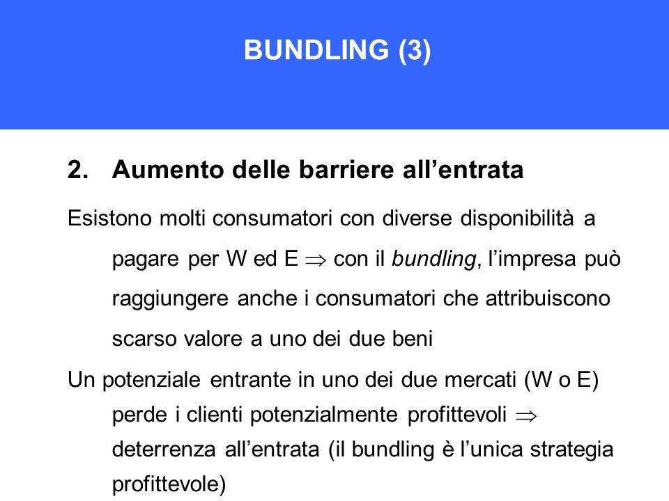 BUNDLING (3) 2.Aumento delle barriere all'entrata Esistono molti consumatori con diverse disponibilità a pagare per W ed E  con il bundling, l'impresa può raggiungere anche i consumatori che attribuiscono scarso valore a uno dei due beni Un potenziale entrante in uno dei due mercati (W o E) perde i clienti potenzialmente profittevoli  deterrenza all'entrata (il bundling è l'unica strategia profittevole)