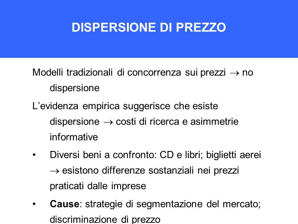 DISPERSIONE DI PREZZO Modelli tradizionali di concorrenza sui prezzi  no dispersione L'evidenza empirica suggerisce che esiste dispersione  costi di