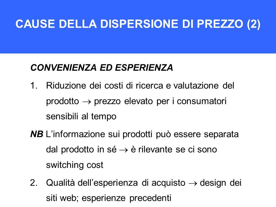 CAUSE DELLA DISPERSIONE DI PREZZO (2) CONVENIENZA ED ESPERIENZA 1.Riduzione dei costi di ricerca e valutazione del prodotto  prezzo elevato per i con