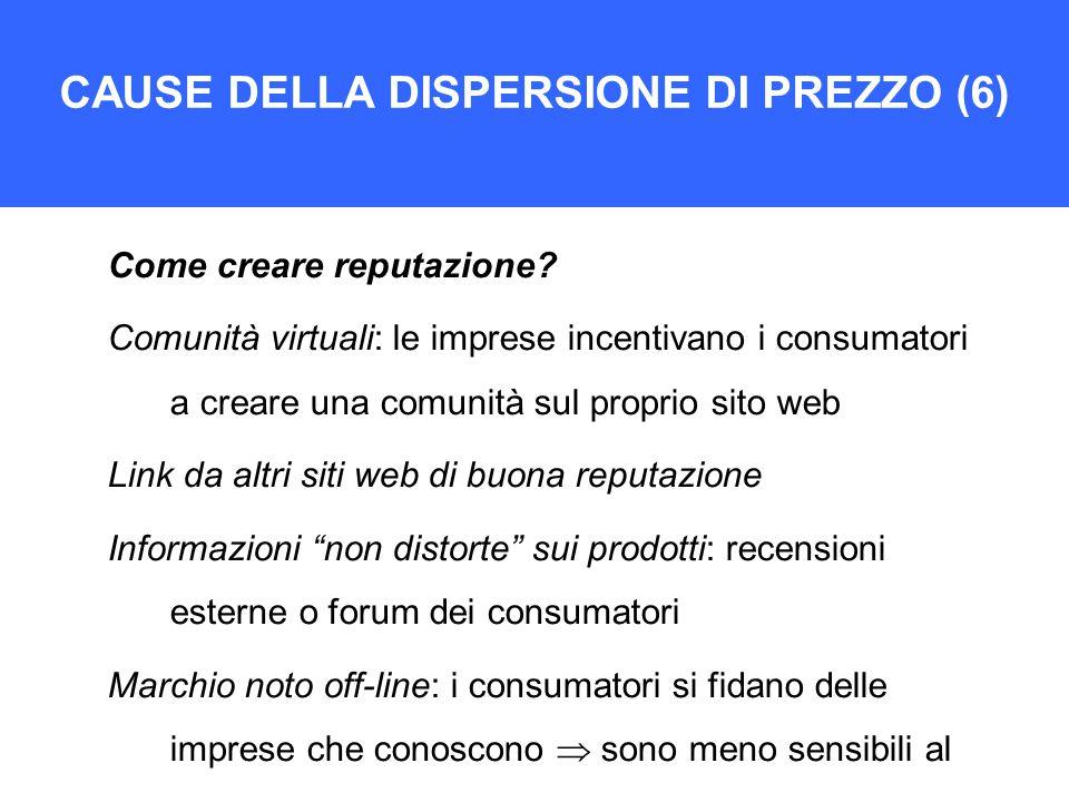 CAUSE DELLA DISPERSIONE DI PREZZO (6) Come creare reputazione.