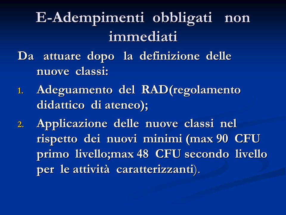 E-Adempimenti obbligati non immediati Da attuare dopo la definizione delle nuove classi: 1.