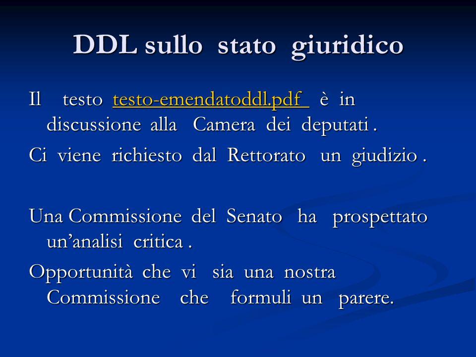 DDL sullo stato giuridico Il testo testo-emendatoddl.pdf è in discussione alla Camera dei deputati.