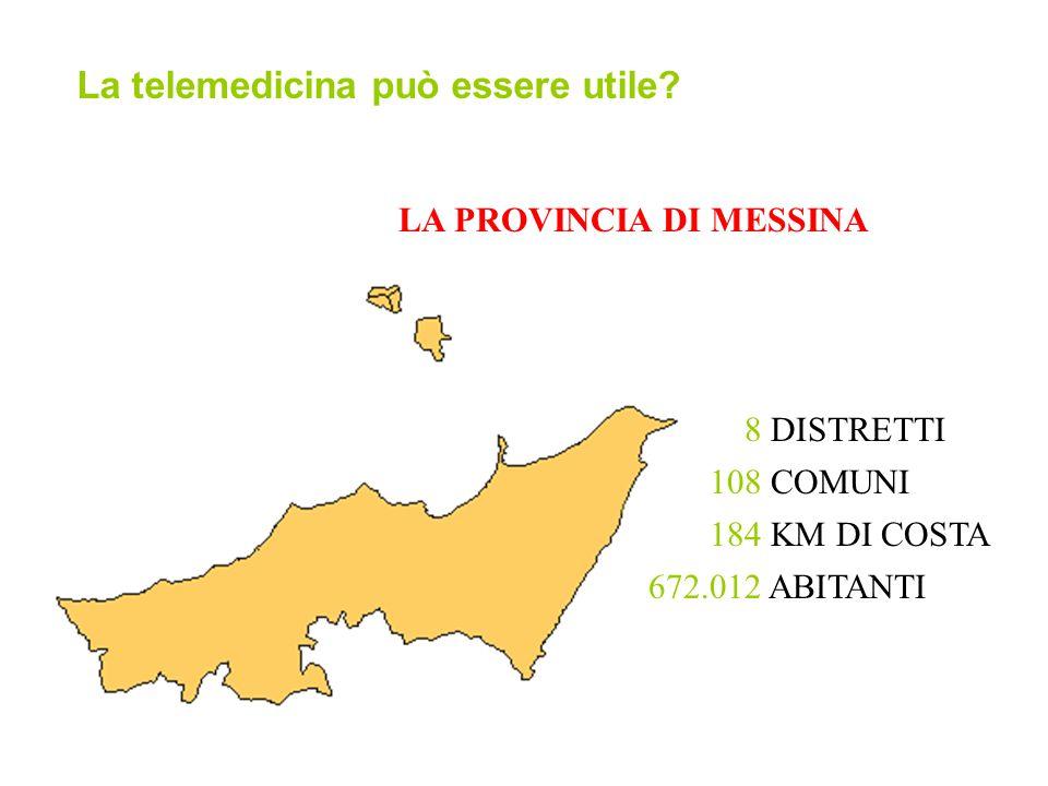 LA PROVINCIA DI MESSINA 108 COMUNI 672.012 ABITANTI 8 DISTRETTI 184 KM DI COSTA La telemedicina può essere utile?