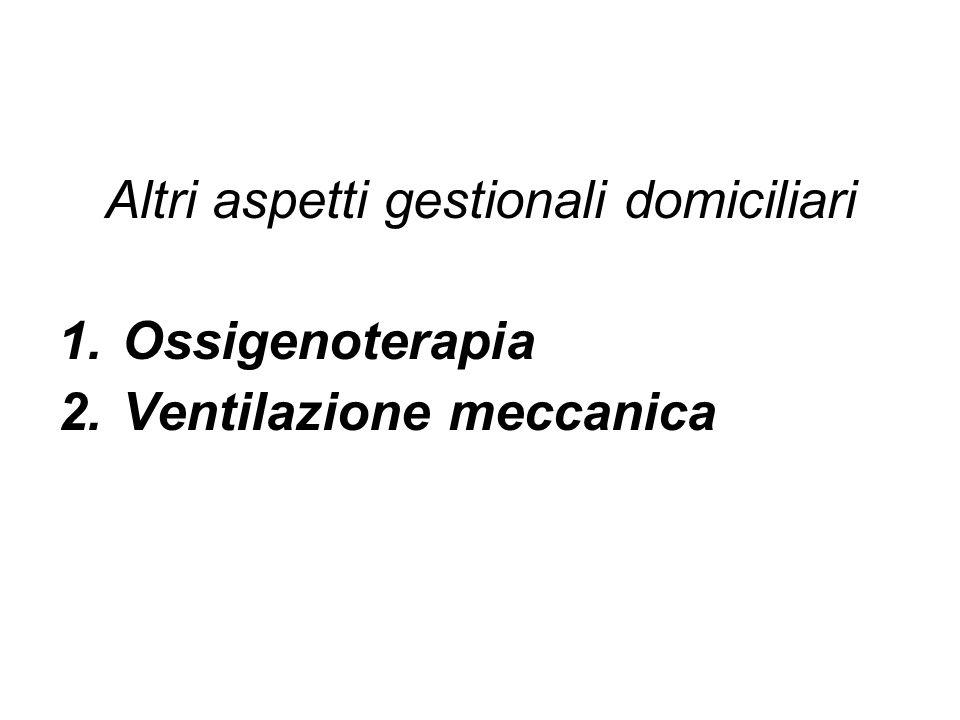 Altri aspetti gestionali domiciliari 1.Ossigenoterapia 2.Ventilazione meccanica