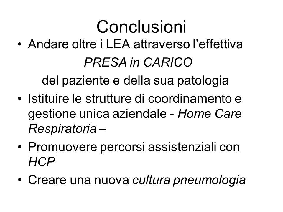 Conclusioni Andare oltre i LEA attraverso l'effettiva PRESA in CARICO del paziente e della sua patologia Istituire le strutture di coordinamento e ges