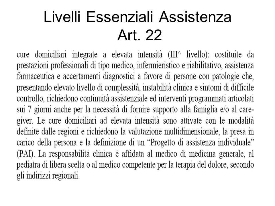 Livelli Essenziali Assistenza Art. 22