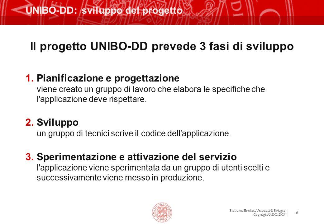 Biblioteca Ercolani, Università di Bologna Copyright © 2002-2005 6 UNIBO-DD: sviluppo del progetto Il progetto UNIBO-DD prevede 3 fasi di sviluppo 1.Pianificazione e progettazione viene creato un gruppo di lavoro che elabora le specifiche che l applicazione deve rispettare.