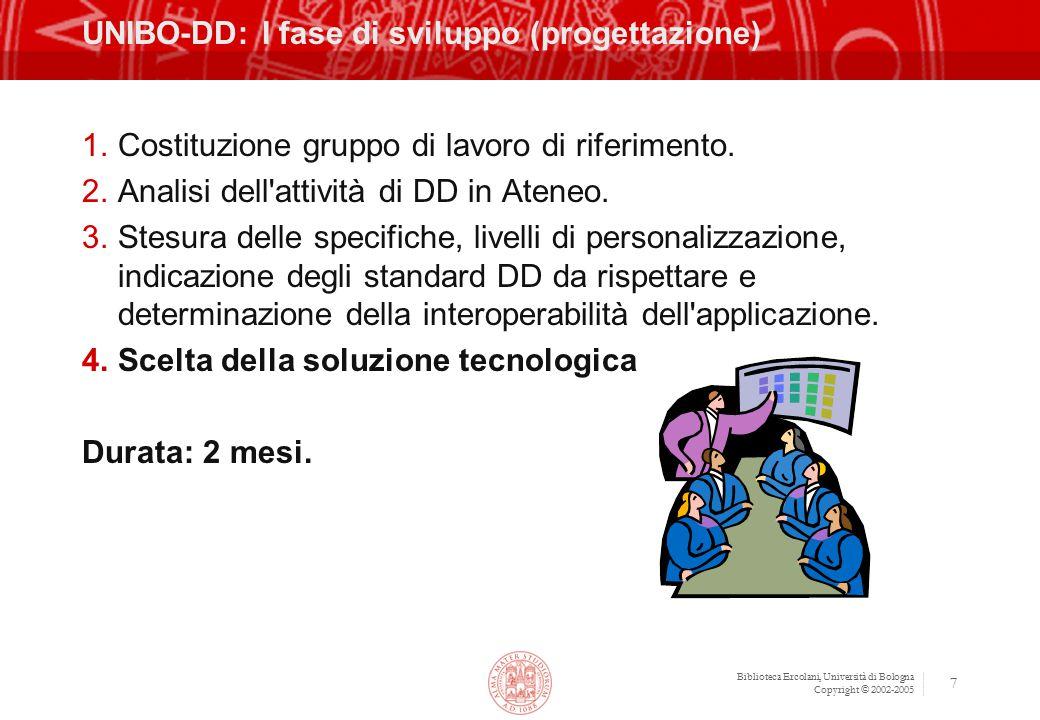 Biblioteca Ercolani, Università di Bologna Copyright © 2002-2005 7 UNIBO-DD: I fase di sviluppo (progettazione) 1.Costituzione gruppo di lavoro di riferimento.