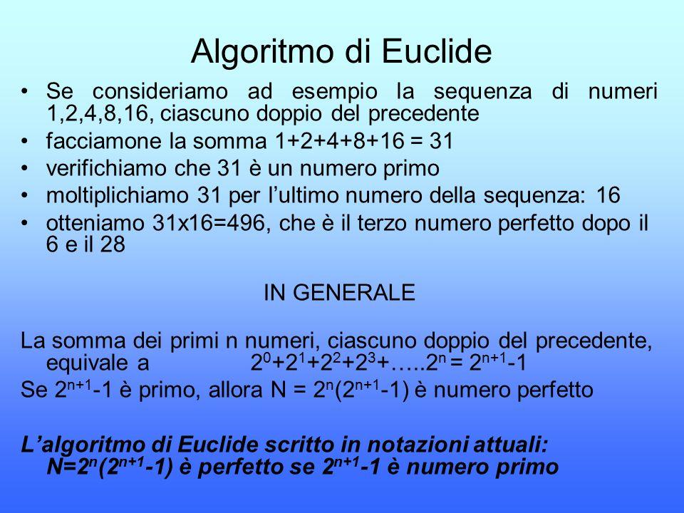 Algoritmo di Euclide Se consideriamo ad esempio la sequenza di numeri 1,2,4,8,16, ciascuno doppio del precedente facciamone la somma 1+2+4+8+16 = 31 v