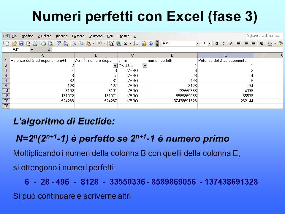 Numeri perfetti con Excel (fase 3) L'algoritmo di Euclide: N=2 n (2 n+1 -1) è perfetto se 2 n+1 -1 è numero primo Moltiplicando i numeri della colonna