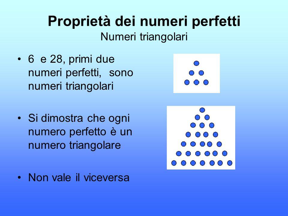 Proprietà dei numeri perfetti Numeri triangolari 6 e 28, primi due numeri perfetti, sono numeri triangolari Si dimostra che ogni numero perfetto è un