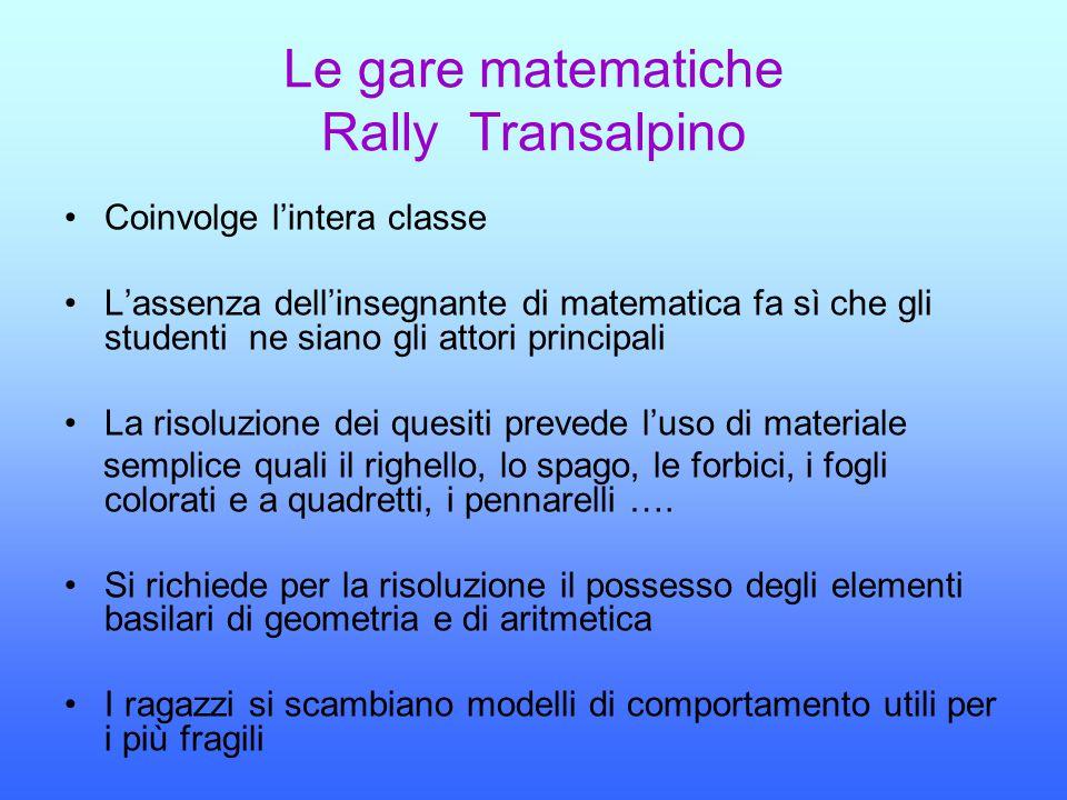 Le gare matematiche Rally Transalpino Coinvolge l'intera classe L'assenza dell'insegnante di matematica fa sì che gli studenti ne siano gli attori pri