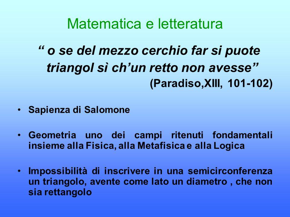 """Matematica e letteratura """" o se del mezzo cerchio far si puote triangol sì ch'un retto non avesse"""" (Paradiso,XIII, 101-102) Sapienza di Salomone Geome"""