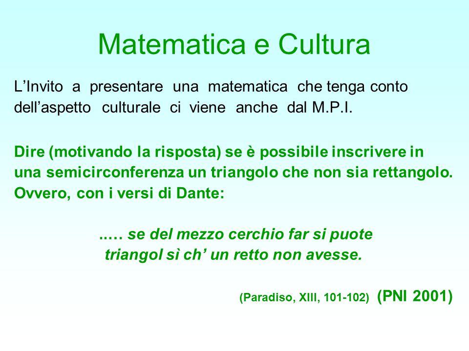 Matematica e Cultura L'Invito a presentare una matematica che tenga conto dell'aspetto culturale ci viene anche dal M.P.I. Dire (motivando la risposta