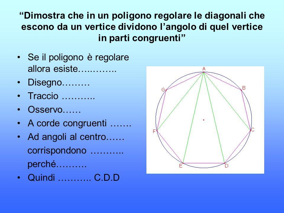 """""""Dimostra che in un poligono regolare le diagonali che escono da un vertice dividono l'angolo di quel vertice in parti congruenti"""" Se il poligono è re"""