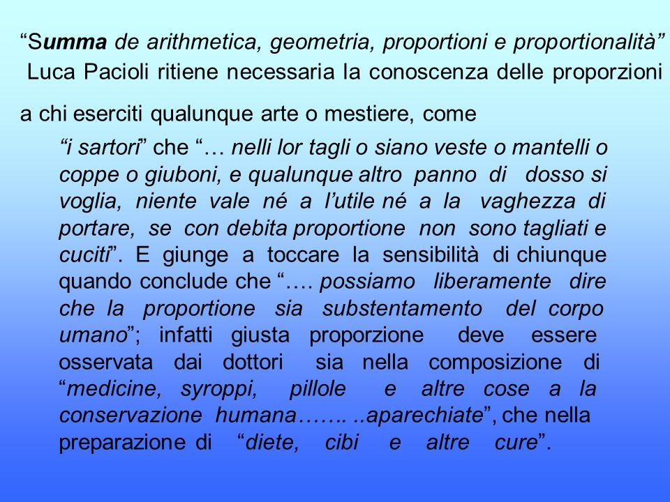"""""""Summa de arithmetica, geometria, proportioni e proportionalità"""" Luca Pacioli ritiene necessaria la conoscenza delle proporzioni a chi eserciti qualun"""