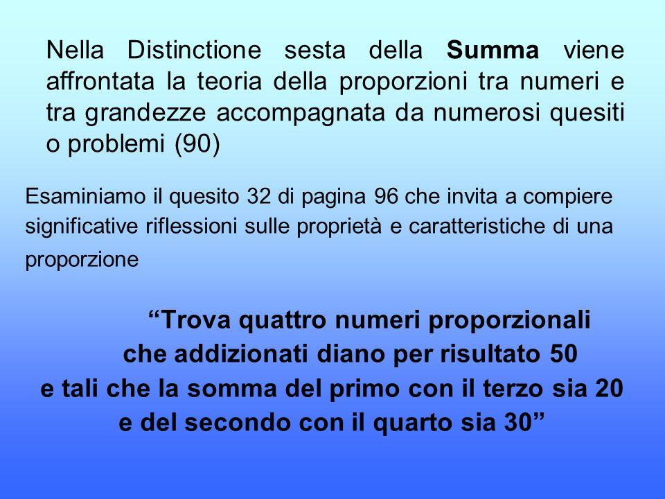 Nella Distinctione sesta della Summa viene affrontata la teoria della proporzioni tra numeri e tra grandezze accompagnata da numerosi quesiti o proble