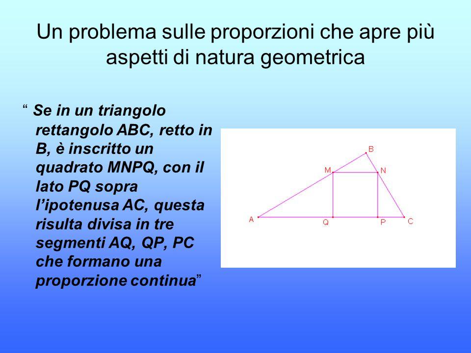 """Un problema sulle proporzioni che apre più aspetti di natura geometrica """" Se in un triangolo rettangolo ABC, retto in B, è inscritto un quadrato MNPQ,"""