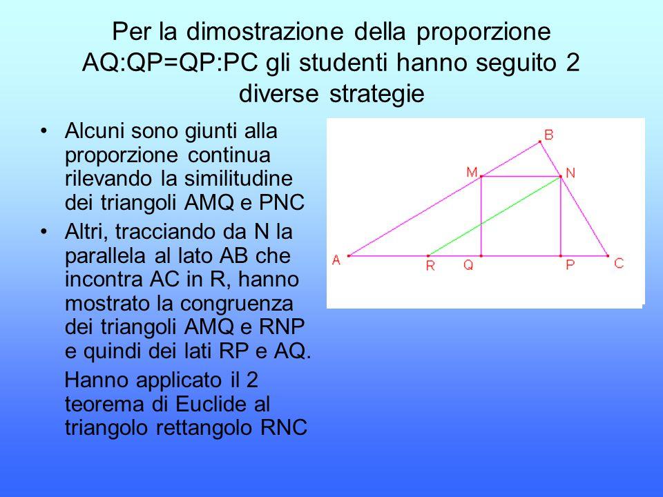 Per la dimostrazione della proporzione AQ:QP=QP:PC gli studenti hanno seguito 2 diverse strategie Alcuni sono giunti alla proporzione continua rilevan