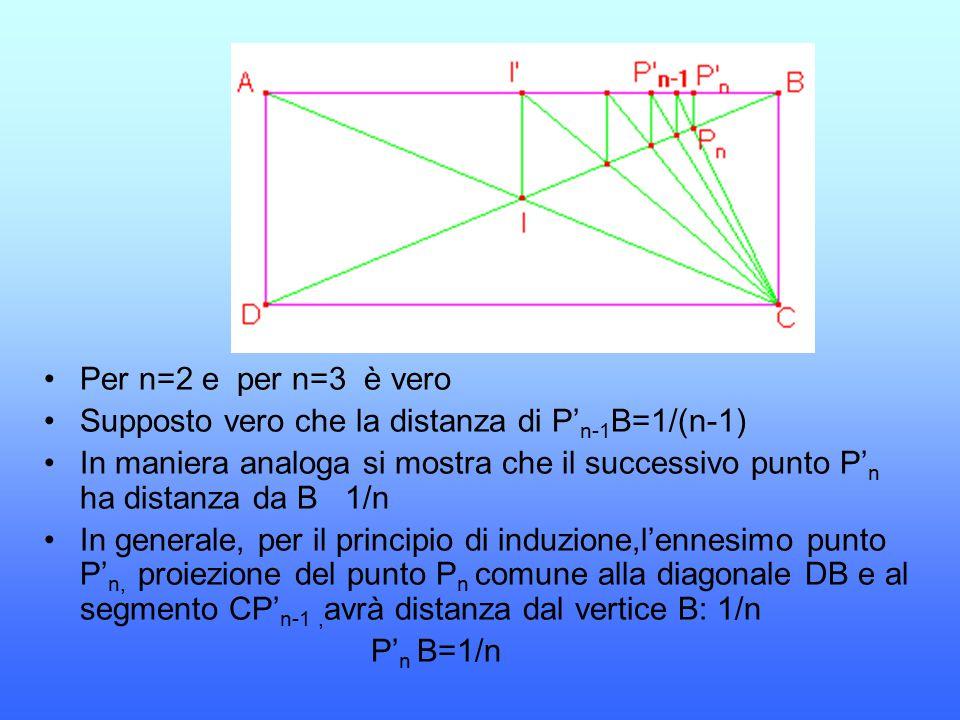 Per n=2 e per n=3 è vero Supposto vero che la distanza di P' n-1 B=1/(n-1) In maniera analoga si mostra che il successivo punto P' n ha distanza da B